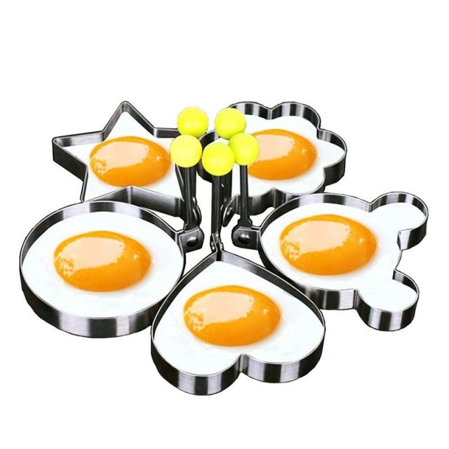 Cute Easy-to-Use Eco-Friendly Stainless Steel Fried Egg Molds Set