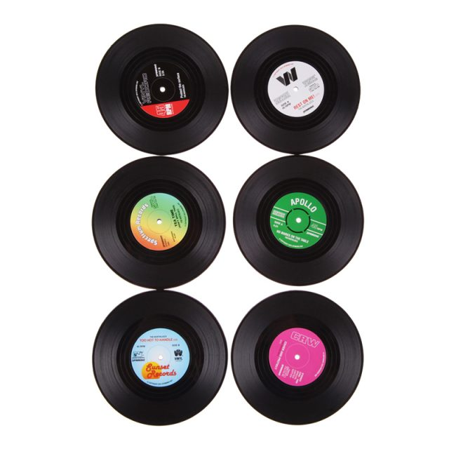 Retro Styled Vinyl Record Shaped Eco-Friendly Plastic Cup Mats Set