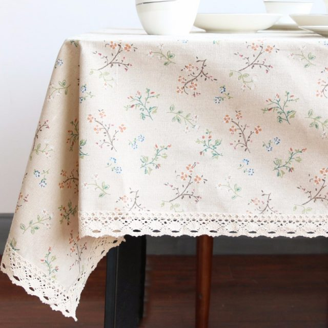 Floral Patterned Cotton Tablecloth