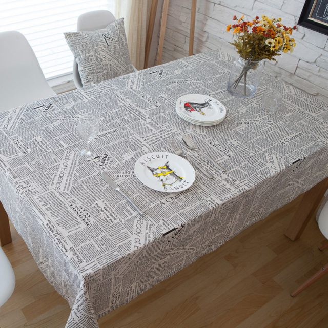 Retro Style Newspapers Print Cotton Linen Tablecloth
