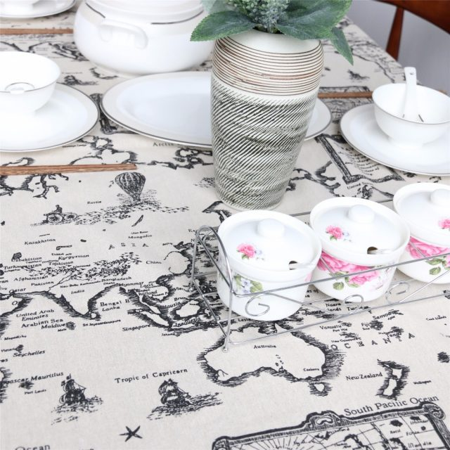 Linen Table Cloth with Antique World Map Print