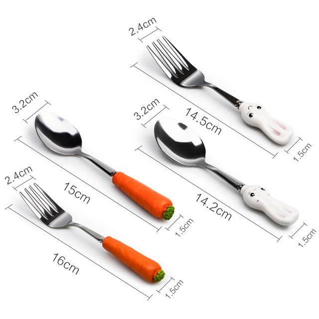 Carrot and Rabbit Shaped Stainless Steel Cutlery Set for Kids